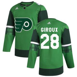 Men's Philadelphia Flyers #28 Claude Giroux 2020 St. Patrick's Day Stitched Hockey Jersey Green