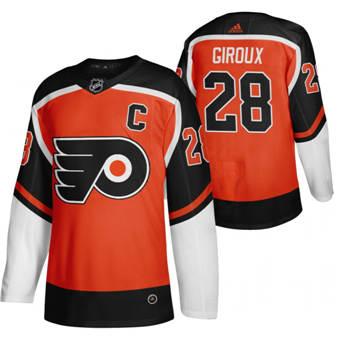 Men's Philadelphia Flyers #28 Claude Giroux Orange 2020-21 Reverse Retro Alternate Hockey Jersey