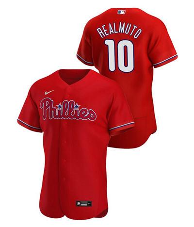 Men's Philadelphia Phillies #10 J.T. Realmuto Red Flex Base Stitched Baseball Jersey