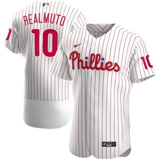 Men's Philadelphia Phillies #10 JT Realmuto 2020 White Home Authentic Player Baseball Jersey