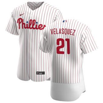Men's Philadelphia Phillies #21 Vince Velasquez White Home 2020 Authentic Player Baseball Jersey