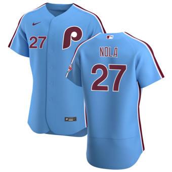 Men's Philadelphia Phillies #27 Aaron Nola Light Blue Alternate 2020 Authentic Player Baseball Jersey