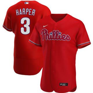 Men's Philadelphia Phillies #3 Bryce Harper 2020 Red Alternate Authentic Player Baseball Jersey