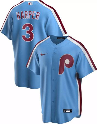 Men's Philadelphia Phillies #3 Bryce Harper Blue Stitched Baseball Jersey
