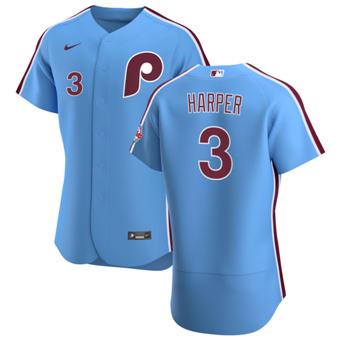 Men's Philadelphia Phillies #3 Bryce Harper Light Blue Alternate 2020 Authentic Player Baseball Jersey