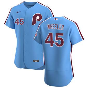 Men's Philadelphia Phillies #45 Zack Wheeler Light Blue Alternate 2020 Authentic Player Baseball Jersey