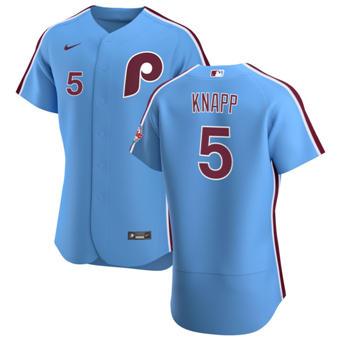 Men's Philadelphia Phillies #5 Andrew Knapp Light Blue Alternate 2020 Authentic Player Baseball Jersey