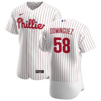 Men's Philadelphia Phillies #58 Seranthony Dominguez White Home 2020 Authentic Player Baseball Jersey