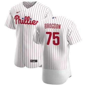 Men's Philadelphia Phillies #75 Connor Brogdon White Home 2020 Authentic Player Baseball Jersey