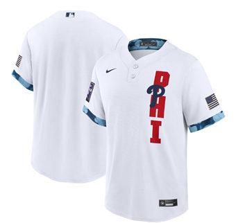 Men's Philadelphia Phillies Blank 2021 White All-Star Cool Base Stitched Baseball Jersey