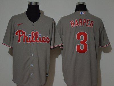 Men's Phillies #3 Bryce Harper Gray 2020 Baseball Jersey