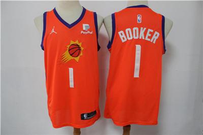 Men's Phoenix Suns #1 Devin Booker Orange Stitched Swingman Basketball Jersey
