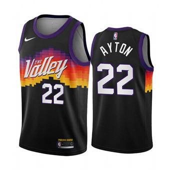 Men's Phoenix Suns #22 Deandre Ayton Black City Edition New Uniform 2020-21 Stitched Basketball Jersey