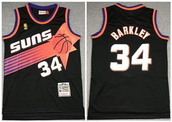 Men's Phoenix Suns #34 Charles Barkley Black 1992-1993 Throwback Stitched Basketball Jersey