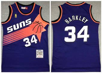 Men's Phoenix Suns #34 Charles Barkley Purple 1992-1993 Throwback Stitched Basketball Jersey