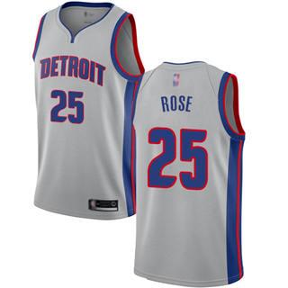Men's Pistons #25 Derrick Rose Silver Basketball Swingman Statement Edition Jersey