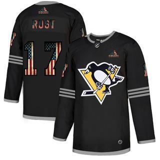 Men's Pittsburgh Penguins #17 Bryan Rust Black USA Flag Limited Hockey Jersey