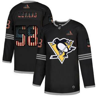 Men's Pittsburgh Penguins #58 Kris Letang Black USA Flag Limited Hockey Jersey