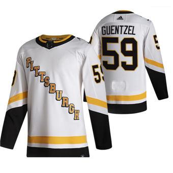 Men's Pittsburgh Penguins #59 Jake Guentzel White 2020-21 Reverse Retro Alternate Hockey Jersey