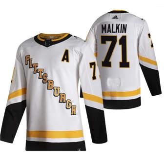 Men's Pittsburgh Penguins #71 Evgeni Malkin White 2020-21 Reverse Retro Alternate Hockey Jersey