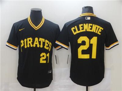 Men's Pittsburgh Pirates #21 Roberto Clemente Black Cool Base Stitched Baseball Jersey