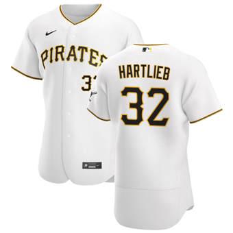 Men's Pittsburgh Pirates #32 Geoff Hartlieb White Home 2020 Authentic Player Baseball Jersey