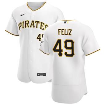 Men's Pittsburgh Pirates #49 Michael Feliz White Home 2020 Authentic Player Baseball Jersey