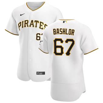 Men's Pittsburgh Pirates #67 Tyler Bashlor White Home 2020 Authentic Player Baseball Jersey