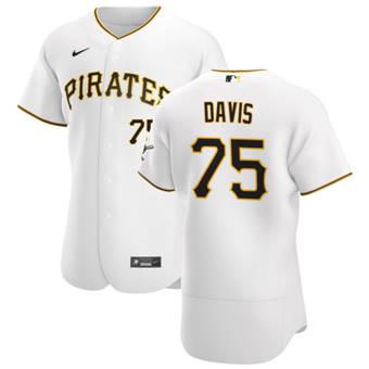 Men's Pittsburgh Pirates #75 Austin Davis White Home 2020 Authentic Player Baseball Jersey
