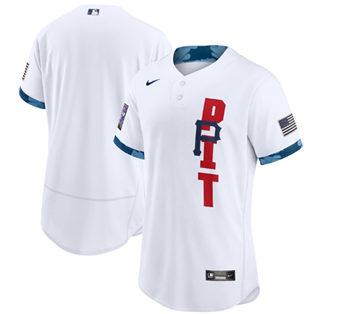 Men's Pittsburgh Pirates Blank 2021 White All-Star Flex Base Stitched Baseball Jersey