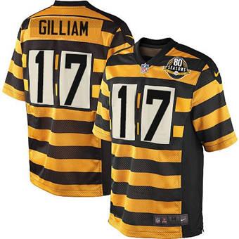 Men's Pittsburgh Steelers #17 Joe Gilliam Yellow Black Alternate 80TH Anniversary Throwback Stitched Football Jersey