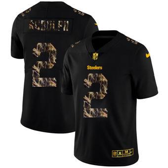 Men's Pittsburgh Steelers #2 Mason Rudolph Black Flocked Lightning Vapor Limited Football Jersey