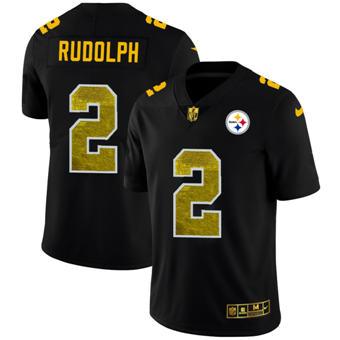 Men's Pittsburgh Steelers #2 Mason Rudolph Black Golden Sequin Vapor Limited Football Jersey
