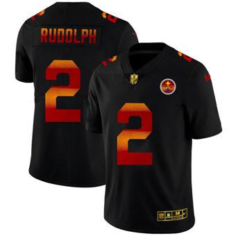 Men's Pittsburgh Steelers #2 Mason Rudolph Black Red Orange Stripe Vapor Limited Football Jersey