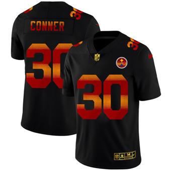 Men's Pittsburgh Steelers #30 James Conner Black Red Orange Stripe Vapor Limited Football Jersey