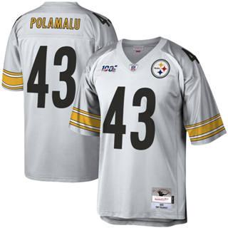 Men's Pittsburgh Steelers #43 Troy Polamalu Mitchell & Ness Football 100th Season Retired Player Platinum Jersey