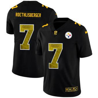 Men's Pittsburgh Steelers #7 Ben Roethlisberger Black Golden Sequin Vapor Limited Football Jersey