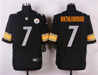 Men's Pittsburgh Steelers #7 Ben Roethlisberger Black Stitched Football Elite Jersey