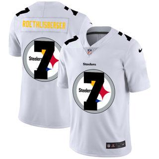 Men's Pittsburgh Steelers #7 Ben Roethlisberger White Team Logo Dual Overlap Limited Football Jersey