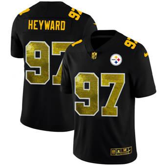 Men's Pittsburgh Steelers #97 Cameron Heyward Black Golden Sequin Vapor Limited Football Jersey