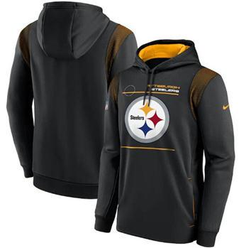 Men's Pittsburgh Steelers 2021 Black Sideline Logo Performance Pullover Hoodie