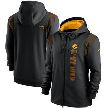 Men's Pittsburgh Steelers 2021 Black Sideline Team Performance Full-Zip Hoodie
