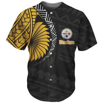 Men's Pittsburgh Steelers Black Baseball Jersey