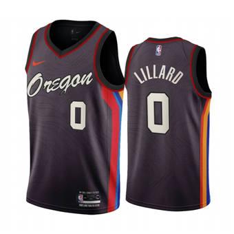 Men's Portland Trail Blazers #0 Damian Lillard Chocolate City Edition 2020-21 Stitched Basketball Jersey
