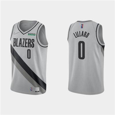 Men's Portland Trail Blazers #0 Damian Lillard Earned Edition Gray Stitched Basketball Jersey