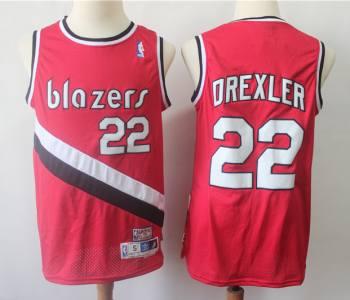 Men's Portland Trail Blazers #22 Clyde Drexler Red Hardwood Classics Basketball Throwback Jersey