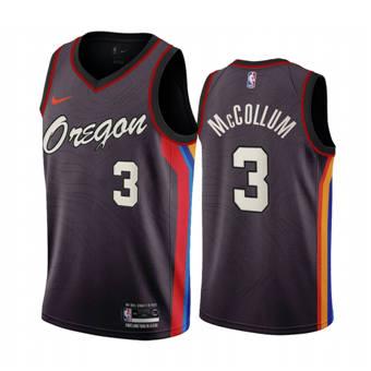 Men's Portland Trail Blazers #3 C.J. McCollum Chocolate City Edition 2020-21 Stitched Basketball Jersey