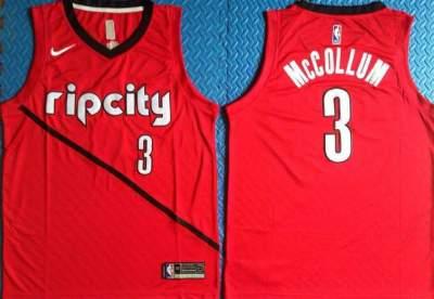 Men's Portland Trail Blazers #3 C.J. McCollum Red 2018-19 Earned Edition Basketball Swingman Jersey