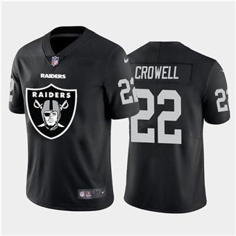 Men's Raiders #22 Isaiah Crowell Black Football Team Big Logo Fashion Vapor Limited Jersey