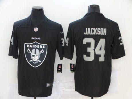 Men's Raiders #34 Bo Jackson Black Football Team Big Logo Fashion Vapor Limited Jersey